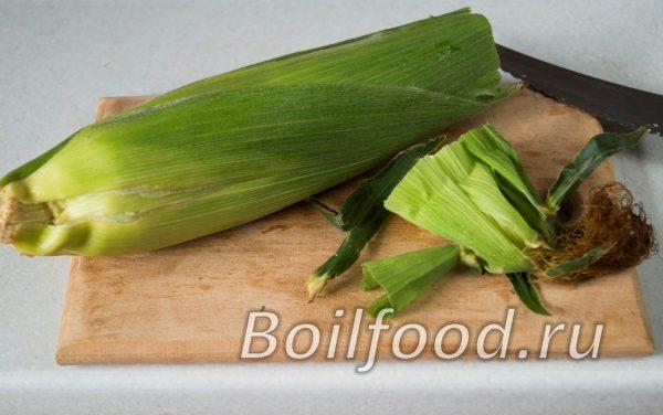 отрезаем концы кукурузы